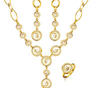 Luxury Women Cubic Ziroia Jewelry Set 18k Gold Plated Fashion Round Shaped Necklace&Earrings&Ring Gift NB60084
