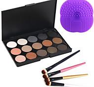 15 Colors 2in1 Matte&Shimmer Smoky Eyeshadow/Eyebrow Powder Cosmetic Palette+4PCS Eyeshadow Brush+1 Brush Pad