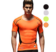 Vansydical Men's Breathable Fitness Tops White / Green / Black / Orange