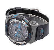 Men's Sport Watch Digital PU Band Black White Blue Silver