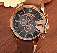 Men's Large Gold Case Leather Band Analog Cool Watch Jewelry Gift Cool Watch Unique Watch