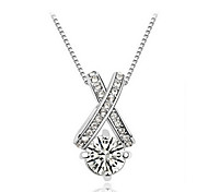 Cubic Zirconia Necklace Pendant Necklaces with Long Silver plated Chain Daily / Casual 1pc