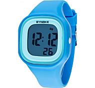 SYNOKE Дети Наручные часы Кварцевый LCD Календарь Секундомер Защита от влаги тревога Светящийся Plastic Группа Черный Белый Синий
