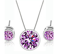 Full color Cubic Zirconia Jewelry Set Necklace/Earrings Fine Jewelry