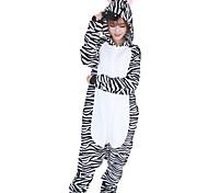 Kigurumi Pijamas Zebra Malha Collant/Pijama Macacão Festival/Celebração Pijamas Animal Branco / Preto Miscelânea Flanela Kigurumi Para