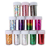 12PCS Laser Foil Nail Decorations Starry Nail Stickers No.1-12(120x4x0.1cm)