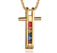 Men's Fashion Rainbow Cross Style Gold Plated Pendant for Necklace