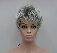новый светло-серый наконечник с синтетический парик коричневый Mix Короткие прямые женской