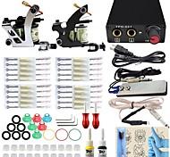 Kit Completo profissional máquina de tatuagem 2 arma 2pcs dicas apertos agulha poder fornecer tinta