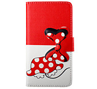 Bowknot Cartoon PU Leather Flip Phone Case Cover For Samsung Galaxy E5/E7/J1 With Wallet Card Slot & Stand