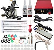 Kit Completo profissional máquina de tatuagem 1 arma 2pcs dicas apertos agulha poder fornecer tinta