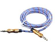 3,5 mm estéreo macho de la cáscara de aleación de aluminio cable de audio macho chapado en oro pista (color clasificado 1m 3 pies)