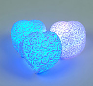 LED Heart Shape Rose Flower Night Light Rainbow 7 Color Change Lamp Carved Relief Mood NightLight Indoor Lighting Valentine Lover Random Color