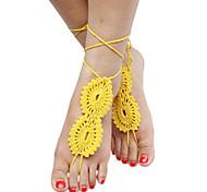 algodón crochet sandalias descalzas tobillera playa sólido estilo de las mujeres