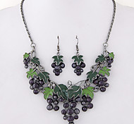 Women European Style Fashion Trend Cute Bunch of Grapes Metal Necklace Earring Sets