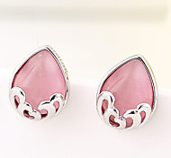 Women's New European Style Boutique Fashion Sweet Droplets Imitation Opal Stud Earrings