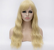 The New  Wig Light Golden Side Curly Hair Wig 26 Inch