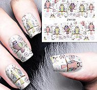 Fashion Printing Pattern Water Transfer Printing Owl Nail Stickers