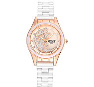 Women's Fashionable Waterproof Diamond White Ceramic Watch