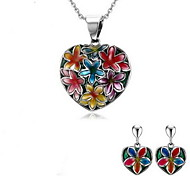 Women's Colorful Flower Design Silver Stainless Steel Necklace Earrings Jewelry Set