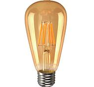 6W E26/E27 Bombillas LED de Globo ST64 6 COB 600 lm Blanco Cálido Regulable / Decorativa AC 110-130 V 1 pieza