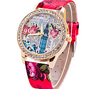 Ladies' Fashion Quartz Grace Big Ben Printing Pattern Leather Belt Individuality Fashionable Relaxation Watches