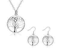 Silver Plated Jewelry Set Necklace/Earrings Wedding / Party / Daily / Casual 2pcs