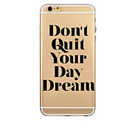 Creative Word Transparent Soft TPU Back Case Cover for iPhone 6/iphone 6 plus