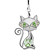 Lovly cat crystal cell phone chain(Random color)