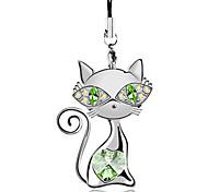 Lovly cat crystal cell phone chain(Random color)