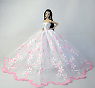 Wedding Dresses For Barbie Doll White / Pink Dresses For Girl's Doll Toy