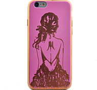 Back Girl Pattern Plating TPU Soft Case Phone Case for iPhone 6/6S