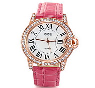 Women/Ladies's White Crystal Case Analog Quartz PU Leather Band Fashion Watch