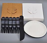 descartáveis bolo de talheres conjuntos de bandeja (1knife 5forks 5 do disco)