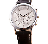 Men's Dress Watch Fashion Watch Wrist watch Quartz Casual Watch Leather Band Cool Black Brown Brand
