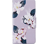 Gray Lily Pattern Card Phone Holster for Huawei P9/P9 Lite/Honor 5X