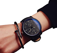 Couple's Fashion Watch Quartz Casual Watch PU Band Black Brand