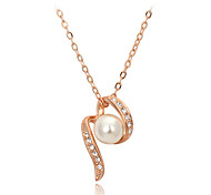 HKTC CZ diamond Simulated Pearl Beads 18K Rose Gold Pated Necklaces & pendants Fashion Jewelry for Women