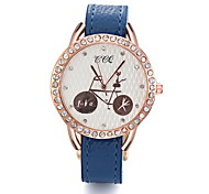 Women/Ladies's White Case PU Leather Band Fashion Watch with Bicycle Pattern