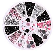 Black White and Pink Rhinestone Nail Art Decoration Palette