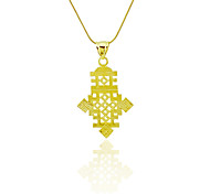 Ethiopian Cross Pendant 18k Gold Filled Plated Ethiopia Item Jewelry Africa Women Men Size 2.4*4.2cm