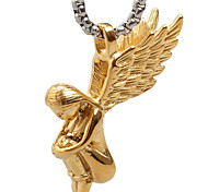 Golden Color Angel Titanium Steel Necklace Pendant (Excluding Chain)