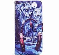 Flip Schnee Wolf-PU-Leder weich Mappenkastenabdeckung für Samsung Galaxy Note 5 Randnote 5