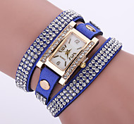 Women's Layered Crystal Leather Band White Case Analog Quartz Bracelet Fashion Watch