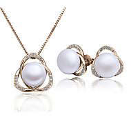 Z&X® Diamond Flower Shape Pearl Necklace Earring Sets