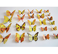 Butterfly Decals Animals / Romance / Landscape Yellow Orange 3D Wall Stickers Plane Wall Stickers,plastic 12pcs