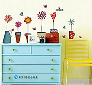 South Korea'S Small Cartoon Flowers Living Room Bedroom Removable Glass Wall Stickers Low Counter Furniture