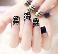 24PCS Fashion Black Rivet Nail Tips
