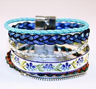 Bohemian National Wind Multilayer Woven Bracelet Ribbon Bracelet Alloy Magnetic Buckle