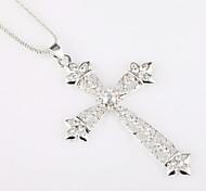 Diamond Studded Cross Dress Long Sweater Chain Necklace